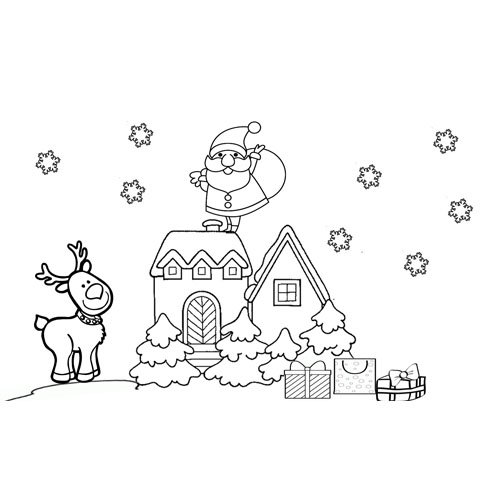 kawaii santa claus with reindeer in christmas time coloring book