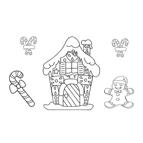 gingerbread man and his house at christmas coloring book
