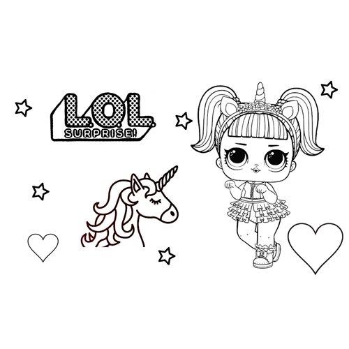 unicorn girl lol coloring book