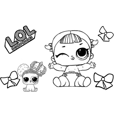 lil line baby lol and dog coloring book