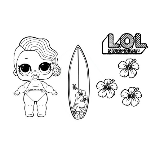 surfer girl lol coloring page