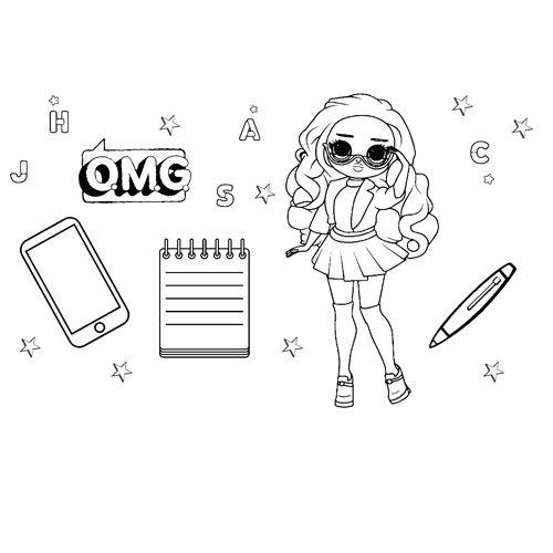 Class Prez Fashion Doll lol OMG coloring book