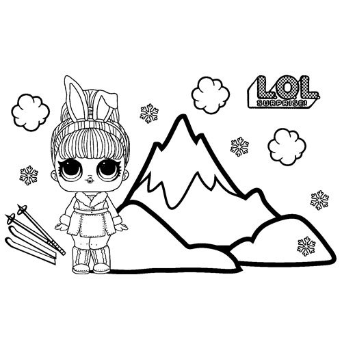LOL surprise hairgoals Snow Bunny coloring book