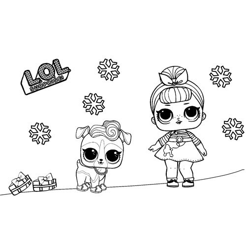 baby lol with pet at christmas coloring book
