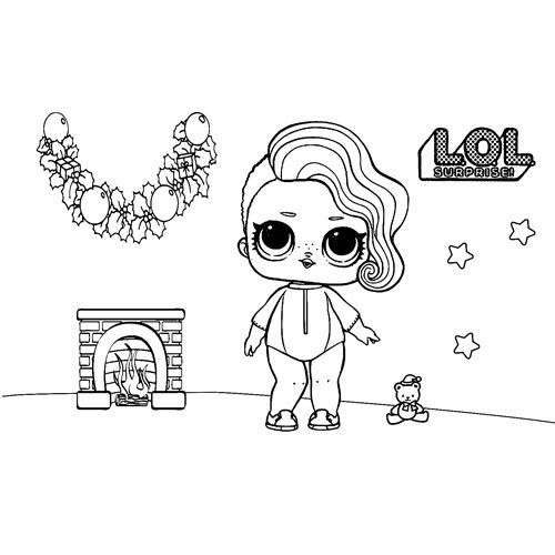 cute baby lol in christmas coloring nbook
