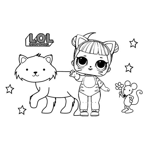 LOL cat baby doll coloring book