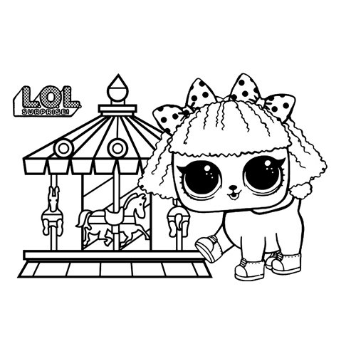 lol little dog on circus coloring book