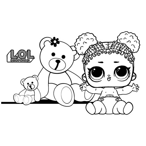 LOL baby with teddy bear coloring book