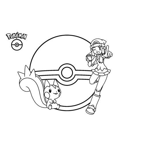 dawn and pachirisu pokemon coloring book