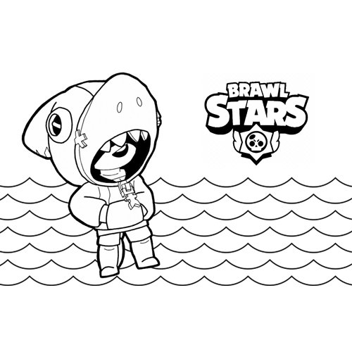 leon shark brawl stars coloring book