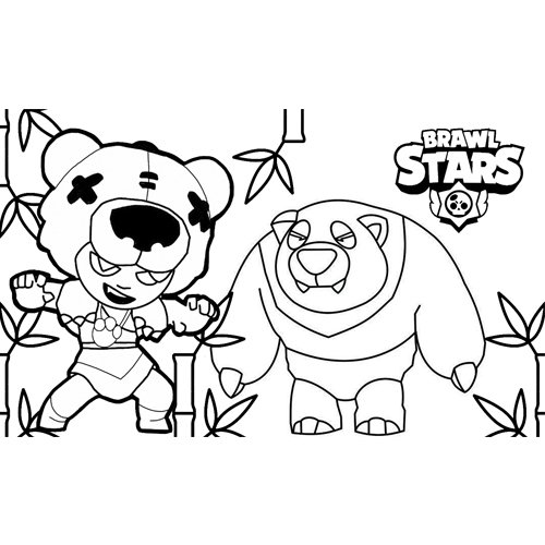 strong nita and her panda bear brawl stars coloring book
