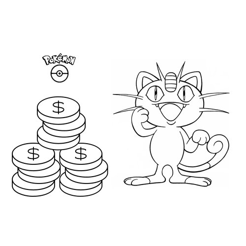 Funny meowth pkemon coloring book