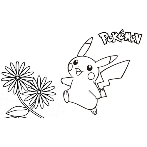 pikachu in the flowers coloring book