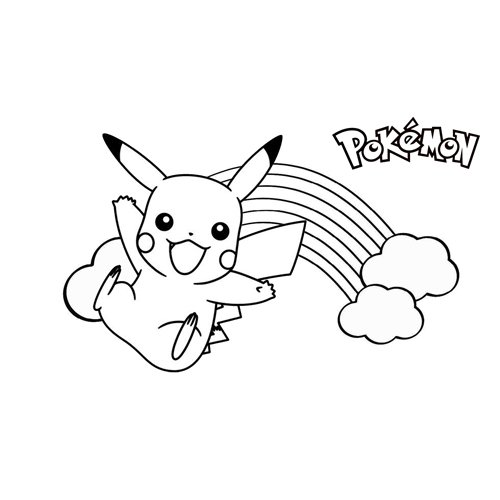 pikachu in the rainbow coloring book
