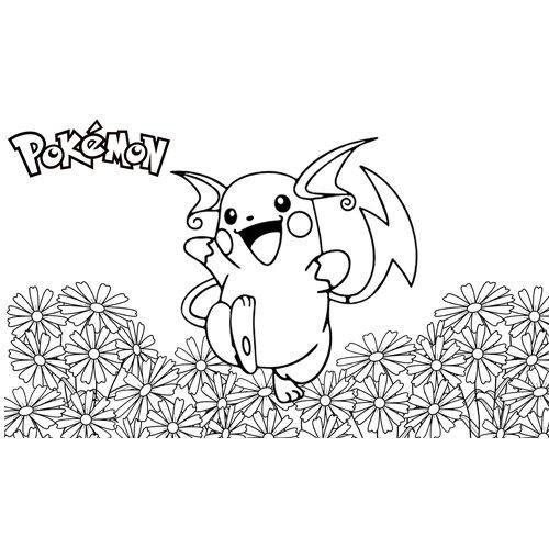 Raichu in the garden coloring book