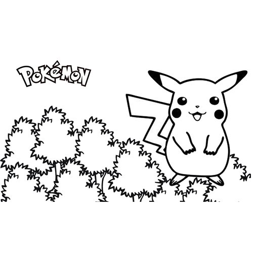 pikachu in the forest pokemon coloring book
