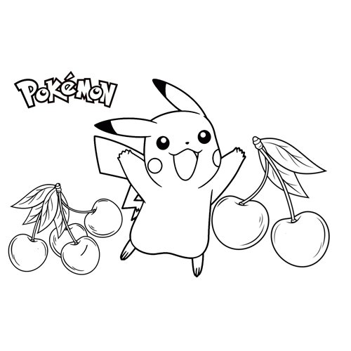 happy pikachu with food pokemon coloring book