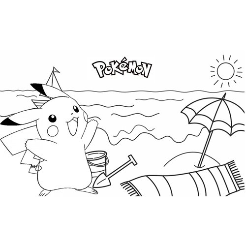 picachu on the beach coloring book
