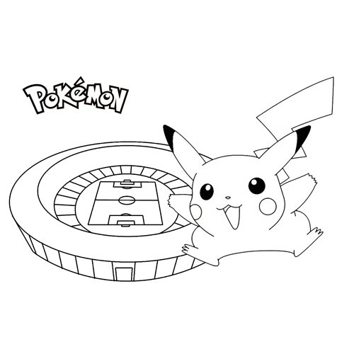pikachu in the stadium coloring book
