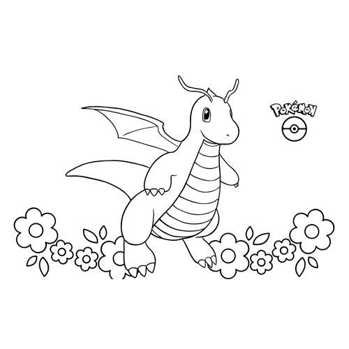 super cute dragonite pokemon coloring book