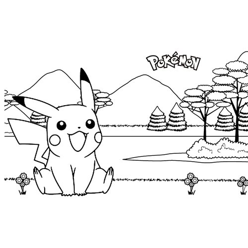 pikachu in nature pkemon coloring book