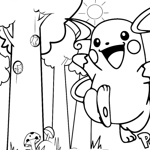 raichu in the forest pokemon coloring book