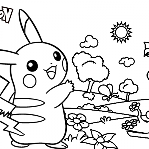 pikachu on a sunny day coloring book
