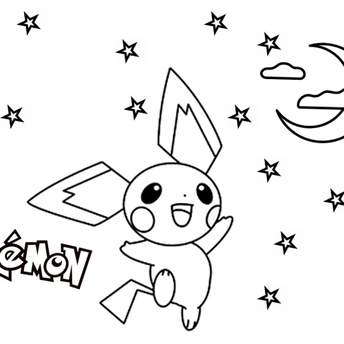 pichu under the stars pokemon coloring book