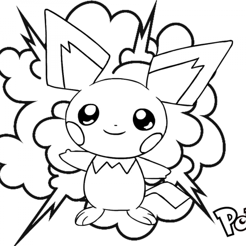 cute pichu explosive pokemon coloring book