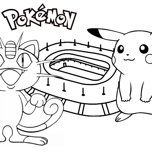 pikachu vs meowth pokemon coloring book