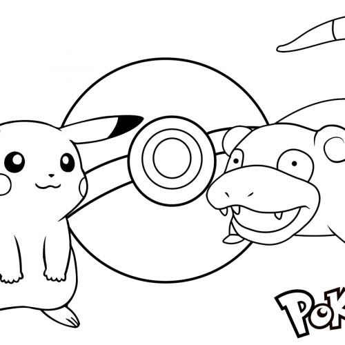 picachu vs slowpoke pokemon coloring book