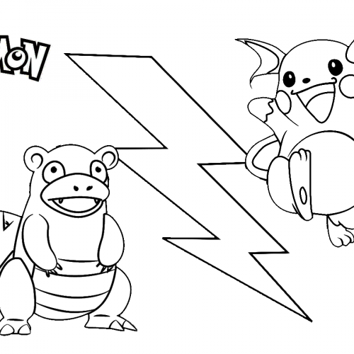pikachu vs slowbro pokemon coloring book