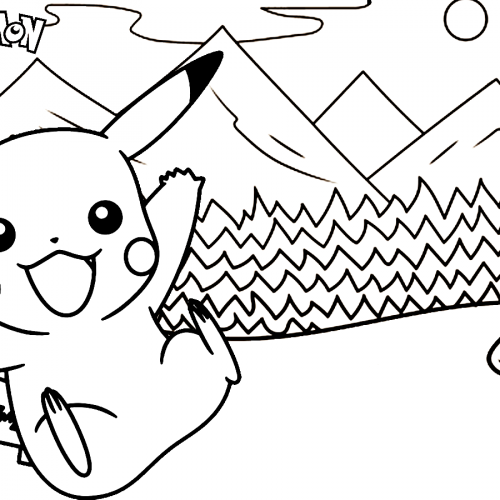 happy pikachu in the snow coloring book