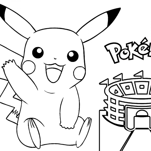 pikachu in the stadium pokemon coloring book