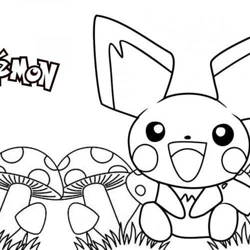 pichu in the mushrooms pokemon coloring book