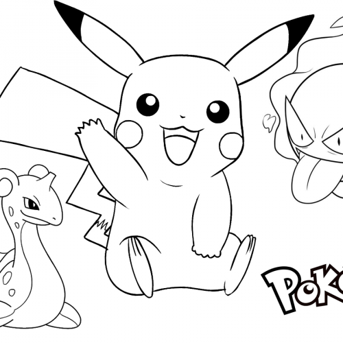 lapras gastly and pikachu coloring book