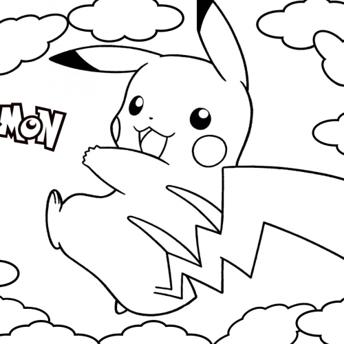 pikachu in the clouds pokemon coloring book