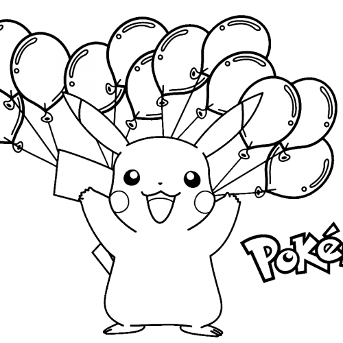 pikachu and the balloons pokemon coloring book