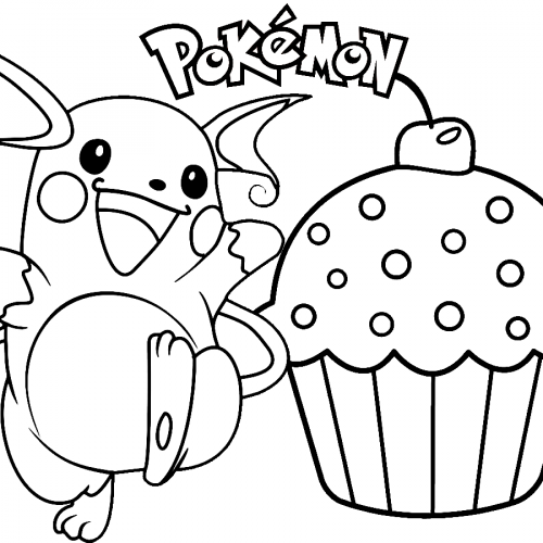 happy raichu with cupcak pokemon coloring booke
