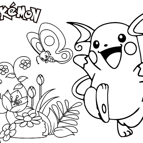 pikachu on the spring pokemon coloring book
