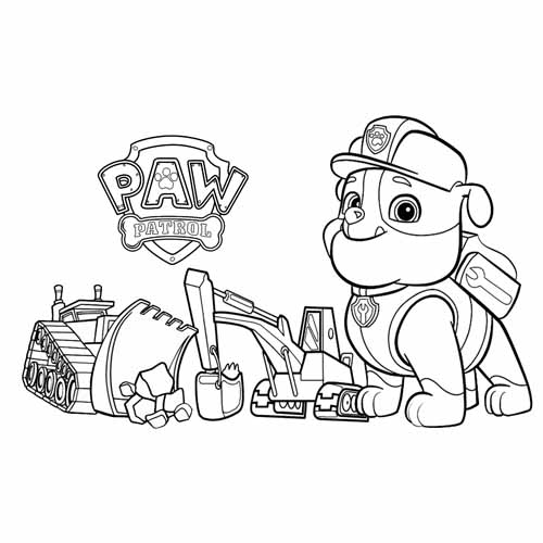 rubble with histools paw patrol coloring book