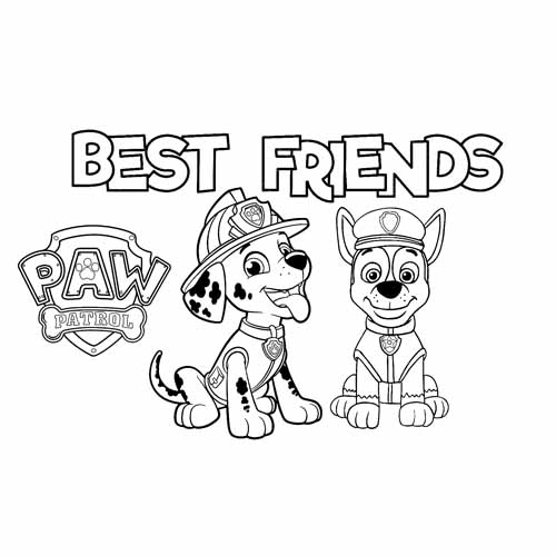 marschall and chase best friend paw patrol coloring book