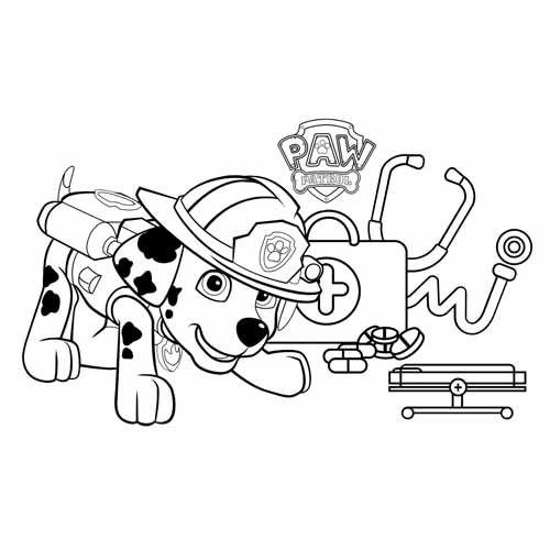 marschall the medical puppy paw patrol coloring book
