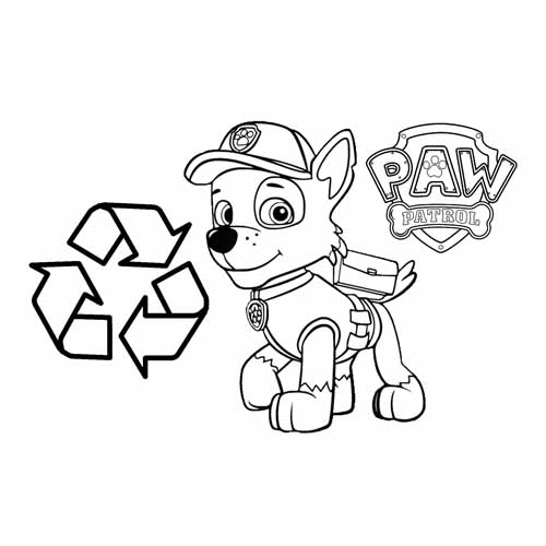 rocky recycling manager paw patrol coloring book
