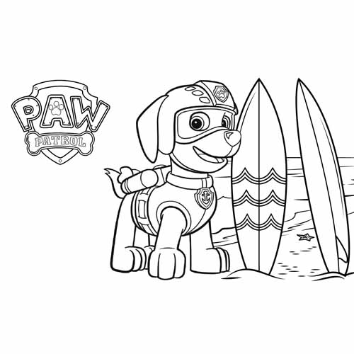 zuma and surf paw patrol coloring book