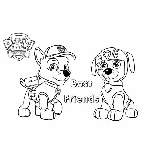 zuma and rocky best friends paw patrol coloring book