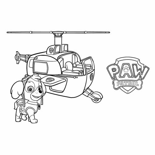 skye in his helicopter paw patrol coloring book