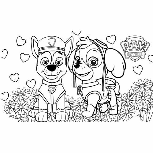 skye in love paw patrol coloring book