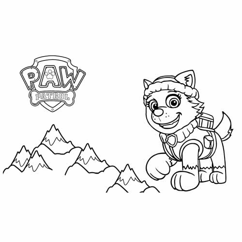 everest in the snow paw patrol coloring book