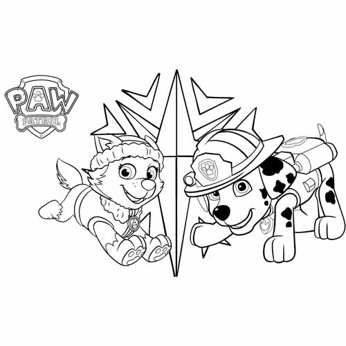 everest and marschall paw patrol coloring book